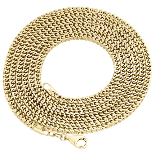 Real 10K Yellow Gold 3D Hollow Franco Box Link Chain 3mm Necklace 22-40 Inch