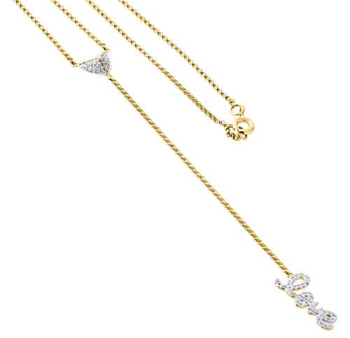 "14K Yellow Gold Diamond Rosary Necklace 19.60"" Heart Love Charm Pendant 0.23 ct."