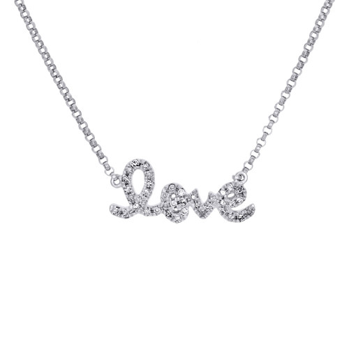 14K White Gold Genuine Diamond LOVE Script Letter Necklace Pendant Charm 0.12 Ct