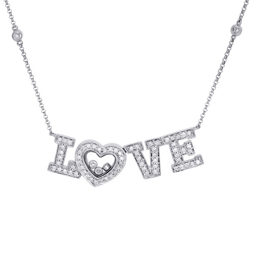 14K White Gold Diamond LOVE Statement Necklace Pendant Charm  0.58 CT.