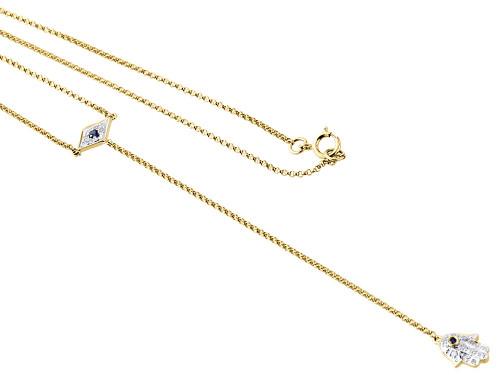 "14K Yellow Gold Diamond Rosary Necklace 19.60"" Hamsa Evil Eye Pendant 0.16 ct."