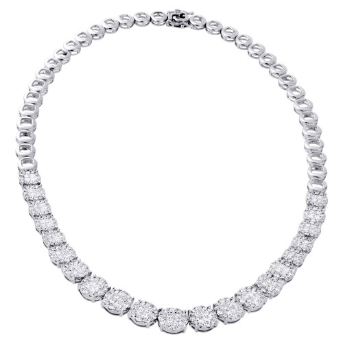 14K White Gold Princess Diamond Necklace Statement Link Tennis Chain 9.45 Ct.
