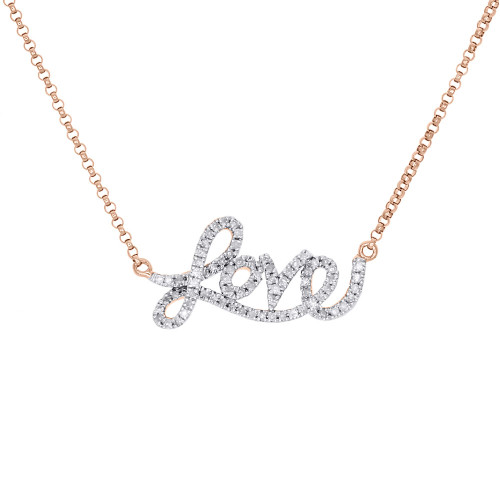 14K Rose Gold Diamond Statement LOVE Script Letter Necklace Pendant Charm .21 Ct