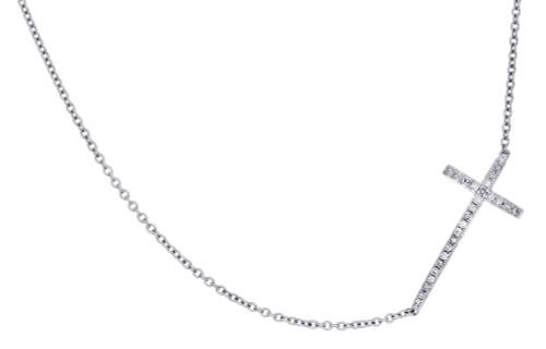 10K White Gold Ladies Round Cut Sideways Cross Diamond Necklace Chain 0.13 CT.
