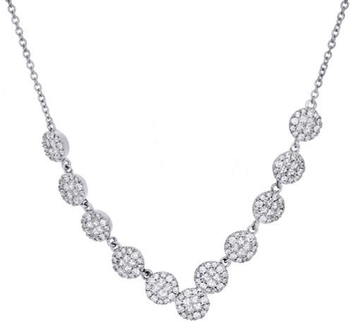 "14K White Gold Princess Diamond Circle Statement Tennis Necklace 18"" 1.87 Ct."