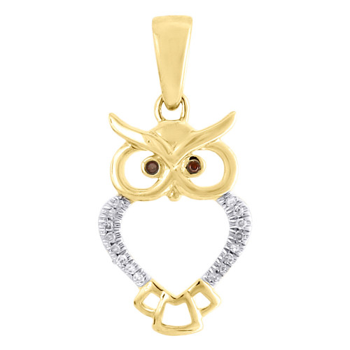 10K Yellow Gold Red Diamond Ladies Owl Pendant Animal Charm  0.05 CT.