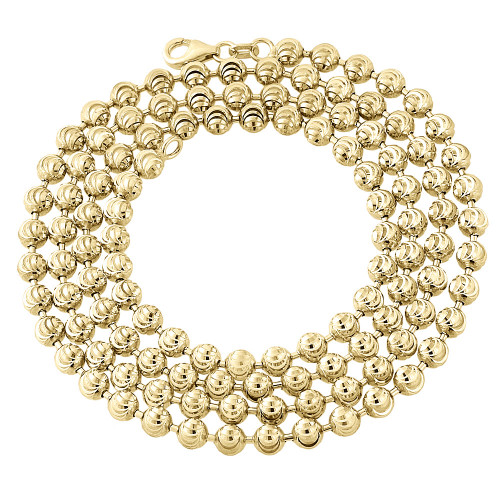 """10k Yellow Gold Moon Cut Style Link New Solid Chain Necklace (4mm) 24"""" - 40"""""""