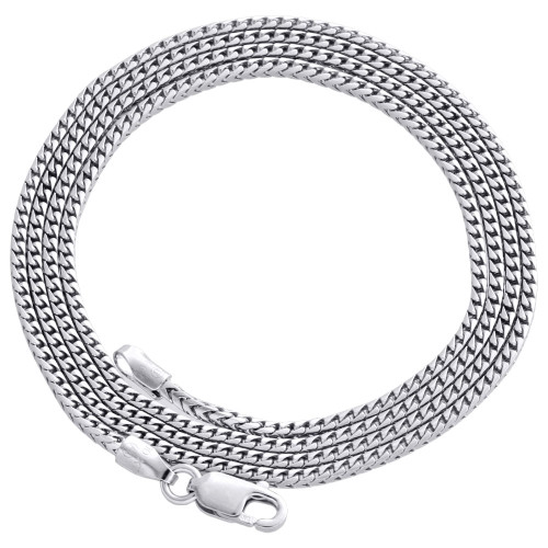 10K White Gold Solid Franco Box Chain Closed Link 1.25mm Necklace 16 - 24 Inches