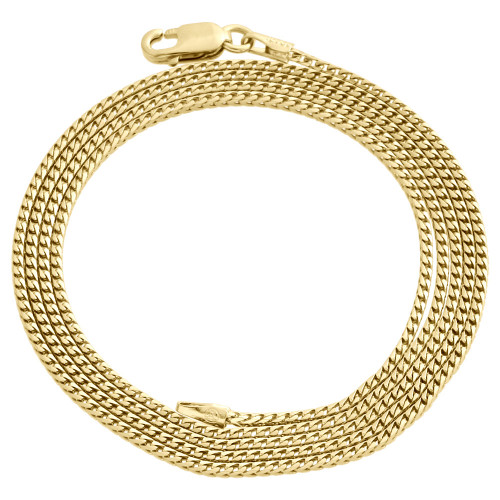 10K Yellow Gold Solid Franco Box Chain Closed Link 1.25mm Necklace 18 - 30 Inch