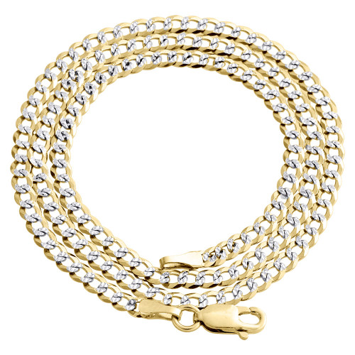 Real 10K Yellow Gold Solid Diamond Cut Cuban Link Chain 3mm Necklace 16-28 Inch