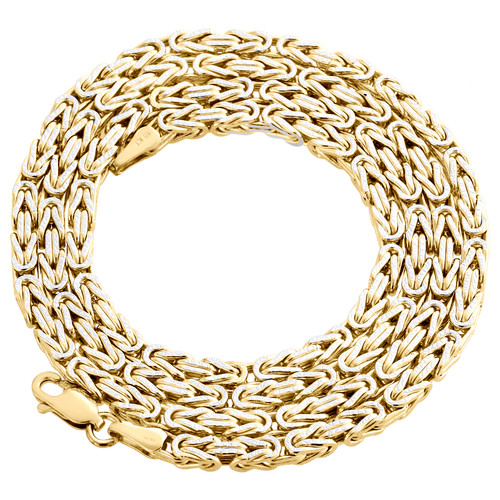 Real 10K Yellow Gold Diamond Cut Byzantine Link Chain 3.10mm Necklace 22-30 Inch