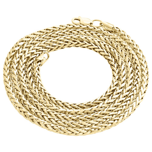 """Real 10K Yellow Gold Rounded Semi Solid Palm Wheat Chain 3.50mm Necklace 24""""-30"""""""