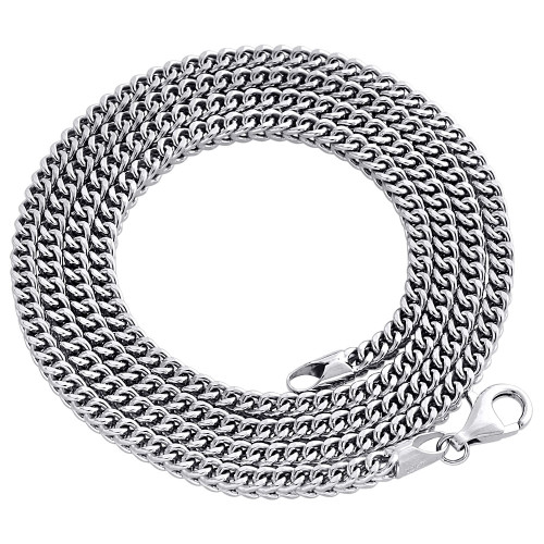 Real 10K White Gold 3D Hollow Franco Box Link Chain 3mm Necklace 22-40 Inches