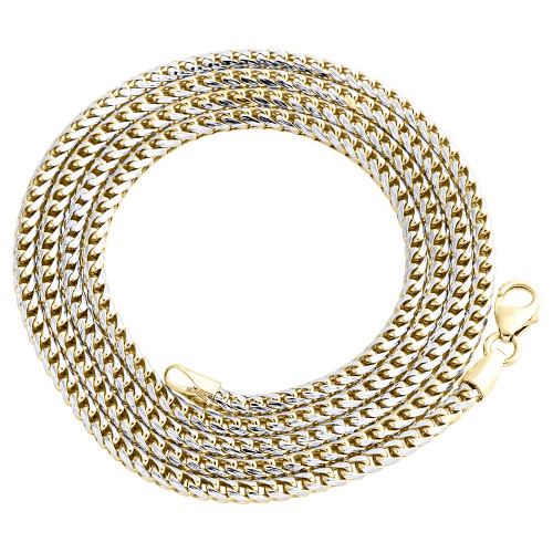 10K Yellow Gold Solid Diamond Cut Franco Box Chain 2.75mm Necklace 22 - 30 Inch