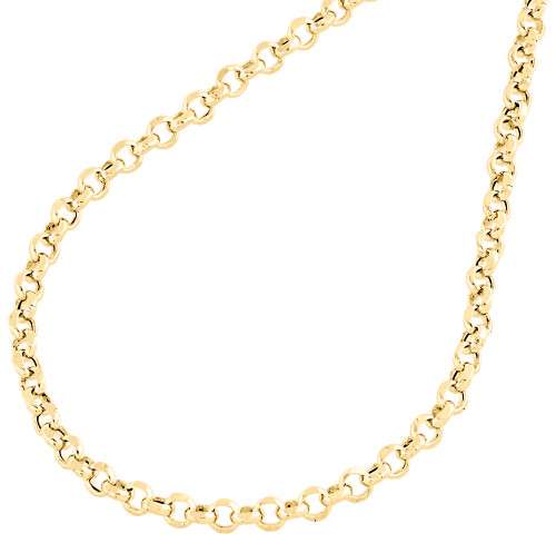Real 10K Yellow Gold Open Circle Rolo Link Chain 3.35mm Necklace 22-30 Inches