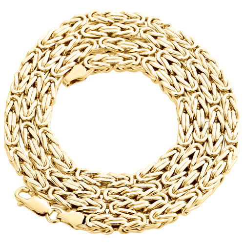 Mens Real 10K Yellow Gold Box Byzantine Link Chain 4mm Necklace 22-30 Inches