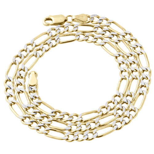 10K Yellow Gold Diamond Cut Solid Figaro Style Chain 4.5mm Necklace 16-30 Inches