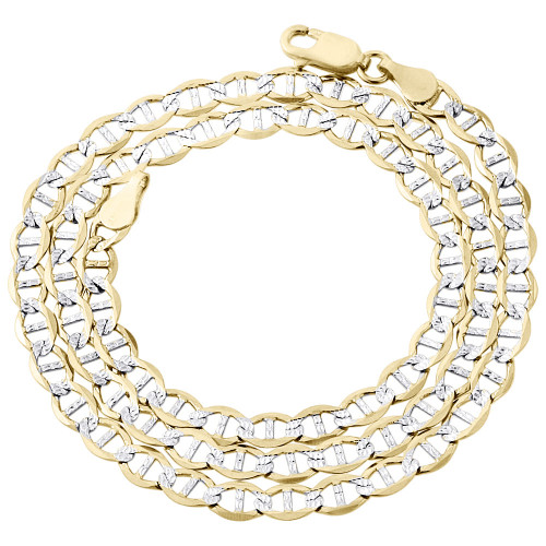 Real 10K Yellow Gold Diamond Cut Solid Mariner Chain 4mm Necklace 16-30 Inch