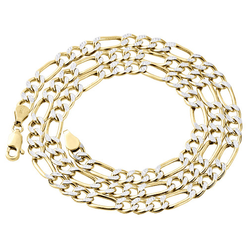 Real 10K Yellow Gold Diamond Cut Figaro Style Chain 4.60mm Necklace 18-30 Inch