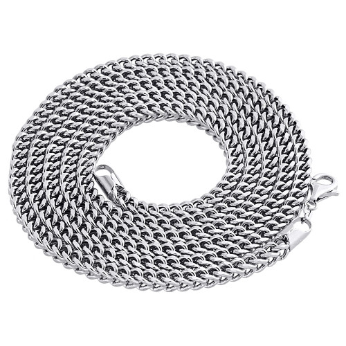 Real 10K White Gold 3D Hollow Franco Box Link Chain 4.50mm Necklace 26-40 Inches