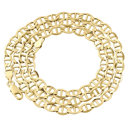 Real 10K Yellow Gold Solid Flat Mariner Chain 5mm Necklace Plain 16-30 Inches