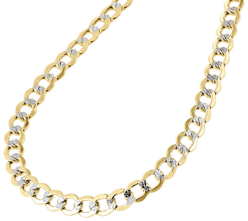 10K Yellow Gold 6.5MM Hollow Cuban Curb Necklace Diamond Cut Pave Chain 20-30""