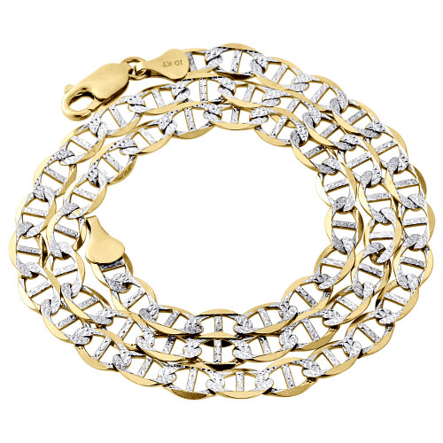 Real 10K Yellow Gold Diamond Cut Solid Mariner Chain 6mm Necklace 18-30 Inch