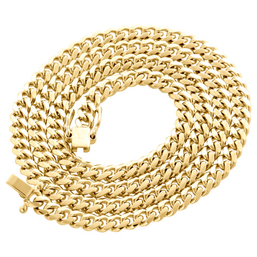 14K Yellow Gold Solid Miami Cuban Link Chain 5mm Box Clasp Necklace 24-30 Inch