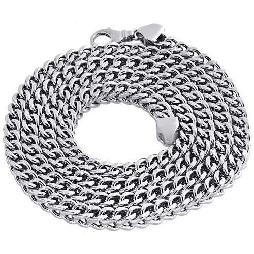 Real 10K White Gold 3D Hollow Franco Box Link Chain 6.75mm Necklace 30-40 Inches