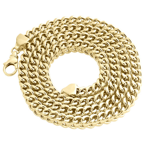 Real 10K Yellow Gold 3D Hollow Franco Box Link Chain 6.75mm Necklace 26-40 Inch