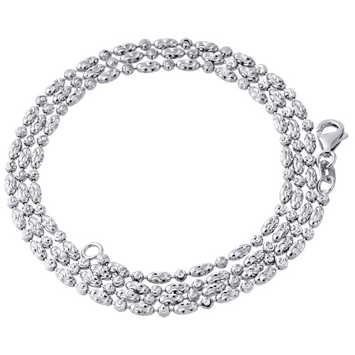 10K White Gold 2MM Beaded Typhoon Moon Cut Italian Chain Necklace 16 - 24 Inch