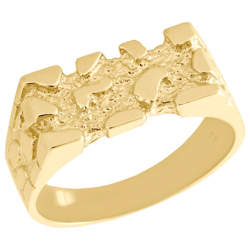 Real 10K Yellow Gold Mens Nugget Style Pinky Ring Rectangle Fancy Band 8.25mm