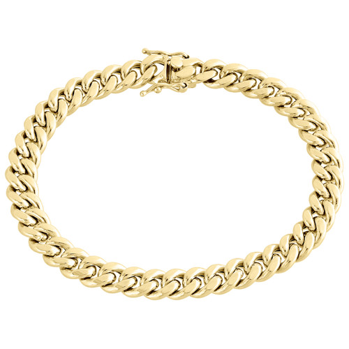 Real 10K Yellow Gold Hollow Miami Cuban Link Bracelet 8.50mm Box Clasp 9 Inch
