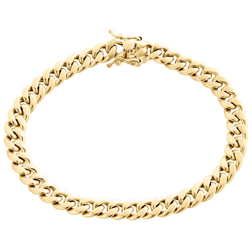 Real 10K Yellow Gold Hollow Miami Cuban Link Bracelet 7.50mm Box Clasp 8-9 Inch