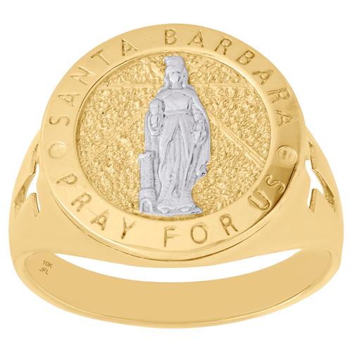 Real 10K Yellow Gold Santa Barbara Pray For Us Cross Statement Ring Band 17mm