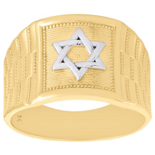 10K Yellow Gold Two Tone Star of David / Shield Symbol Statement Ring 14mm Band