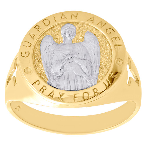 10K Yellow Gold Pray For Us Guardian Angel Protect Us Cross Medallion Ring 17mm