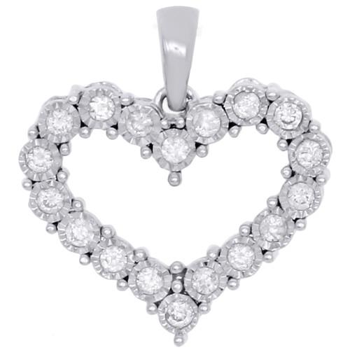 "10K White Gold Real Diamond Heart Shaped Miracle Set Pendant 0.70"" Charm 1/5 CT."