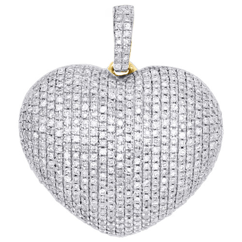 "10K Yellow Gold Genuine Diamond Head Shape Dome Puff Pendant 0.9"" Charm 0.72 CT."