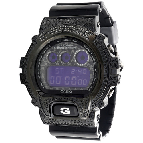 Mens Casio DW6900C-8DR G-Shock Black Grey Digital Real Diamond Watch Case 2.5 CT