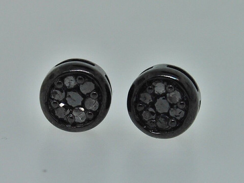 Black Diamond Studs .925 Sterling Silver Round Pave Earrings 0.40 Ct.