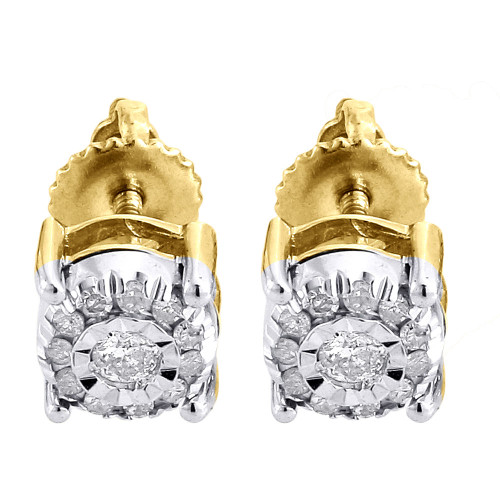 Solitaire Diamond Earrings 10K Yellow Gold Mens Ladies Round Studs 0.19 Ct.