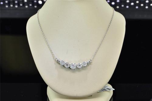 Diamond Flower Pendant 14K White Gold .50 Ct Charm Necklace