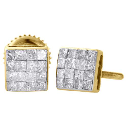 14K Yellow Gold Princess Diamond Studs 5.60mm Mini Square Earrings 0.38 Ct.
