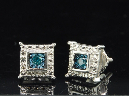 Blue Diamond Solitaire Earrings .925 Sterling Silver Round Square Studs 0.05 Ct