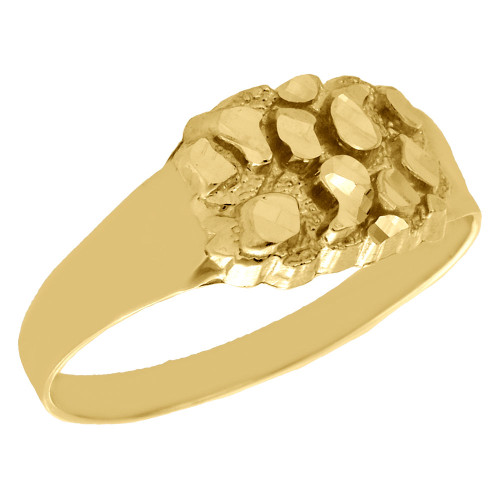 Real 10K Yellow Gold Men's Nugget Style Pinky Ring Custom Fancy Band 9.50mm
