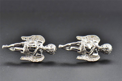 Real Diamond Studs .925 Sterling Silver Angel Earrings 0.20 CT