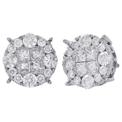 14K White Gold Genuine Princess Diamond Studs 11.35mm Screw Backs Earrings 2 Ct.