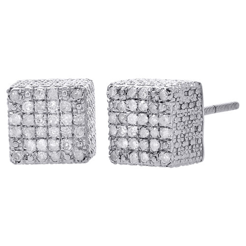 Diamond Studs 3D Cube Square .925 Sterling Silver Earrings 0.40 Ct