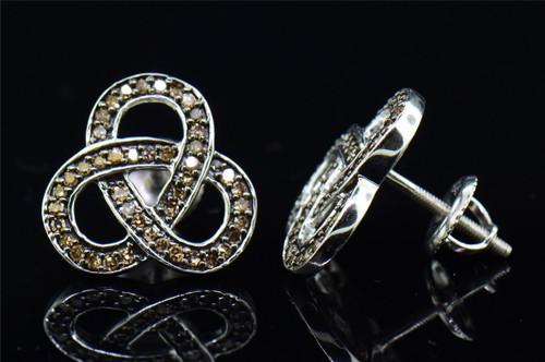 Ladies .925 Sterling Silver Brown Diamond Love Knot Pave Earrings Studs 0.50 Ct.